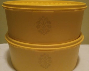 Vintage Round Two Quart Harvest Yellow Servalier Storage Canisters with Lids Tupperware Containers