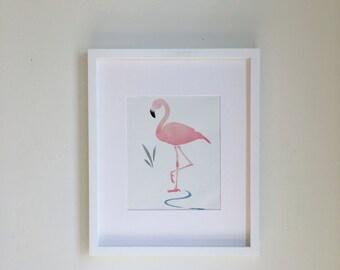 8x10 Metallic Pink Flamingo Nursery Wall Art