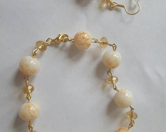 Clear bicone and white speckled bead set