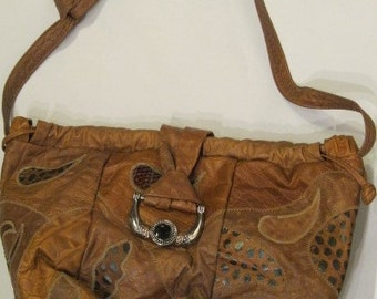 1980s Brown Leather Patchwork Hobo Bag