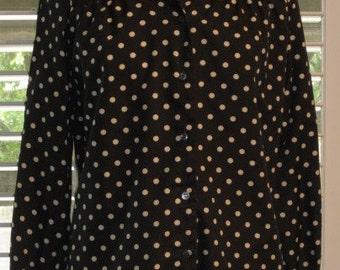 Polka Dot Blouse Black With White Polka Dots Long Sleeved Vintage 1970s