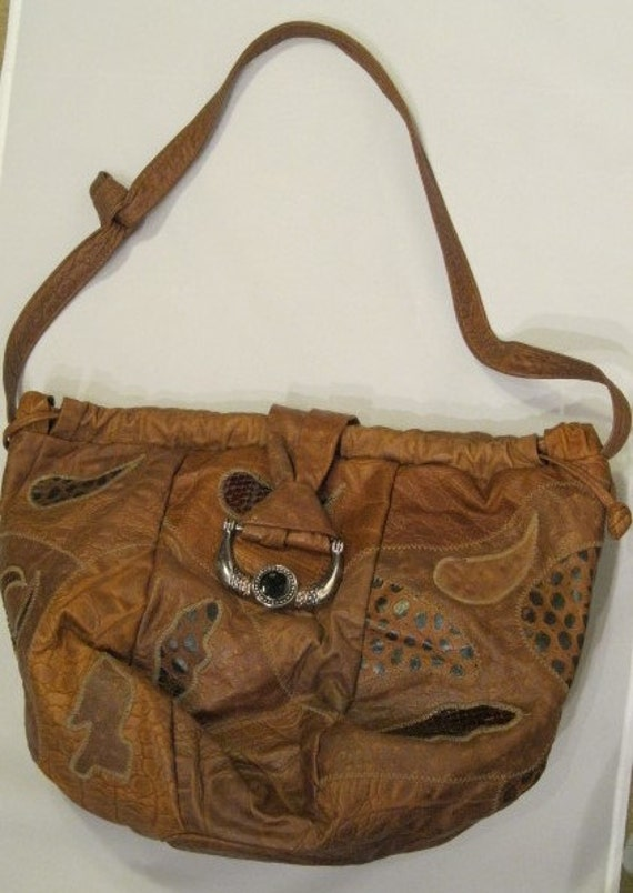 c542d89d4d 1980s Brown Leather Patchwork Hobo Bag