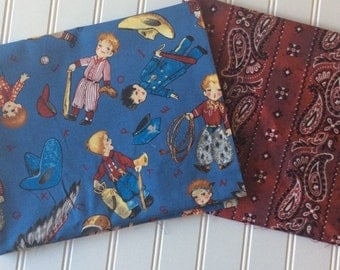Michael-Miller-Bobby-Pretends-Red-Bandana-Stripes-Poney-Print-Cotton-Fabric-By-The-Yard-Bundle-Options
