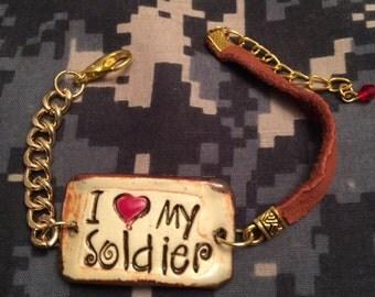 Bracelet soldier ceramic leather