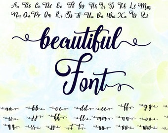 Cursive font, svg, dxf, eps, studio v3, png, cdr, file for Silhouette Cameo, Curio, cut file for cutting machines, instant download