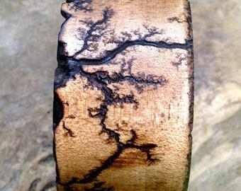 Wood Bangle Bracelet electrocuted/ fractal / burned