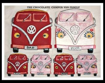Chocolate Camper Van Family Gift Set/Chocolate Vehicle/VW Camper Van/Birthday Chocolate/Novelty Chocolate/Music Festival/Mum/Dad/Male/Female
