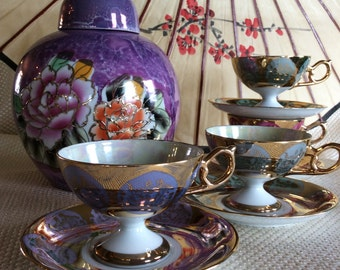 Vintage fancy Oriental Japan footed cup saucer Courting couple and luster finish