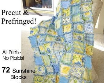 SUMMER BREEZE Rag Quilt KIT 72 Precut Pre-fringed Squares / Blocks Sew Fast / Moda Fabric