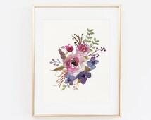 Floral Print, Floral Wall Art, Floral Printable, Floral Nursery Decor, Printable Wall Art, Watercolor Flower Printable, Printable Floral Art