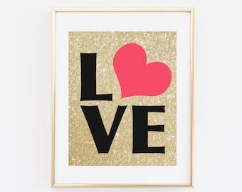 Love Art Print, Golden Printable wall art, Modern Home Decor, Gold and Glitter, Heart, Digital File, Instant Download, Pink heart, Red Heart