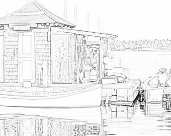Center for Wooden Boats Boathouse Coloring Page