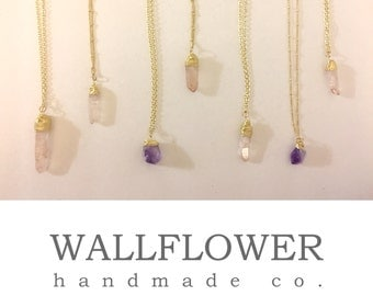 Raw Amethyst Crystal Pendant Necklace