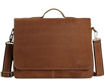 """Handmade 14"""" Vintage Style Top Grain Real Leather Briefcase Men's Messenger Bag Crossbody  Laptop Bag Business Briefcase, Shoulder Bag"""