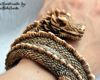 Dragon bangle Dragon bracelet Polymer clay jewelry for women Polymer clay bracelet Bangle bracelet Ivory dragon Dragon jewelry Gift for her