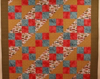 """Coastal Fishing Line -""""Tropical  Fish in Coral"""" Lap Quilt"""