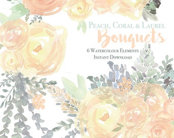 Peach, Coral, and Laurel Bouquets / Digital Clipart /