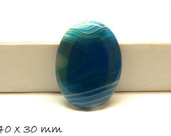 1 PCs gemstone cabochon agate sky blue, 40 x 30 mm blue
