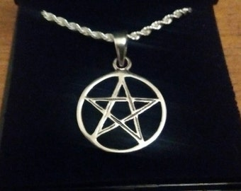 Sterling silver pentagram and chain