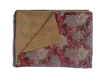 Vintage Reversible Kantha Quilt  Kantha Handmade Throw Cotton Thread Stich Kantha Sari Quilt