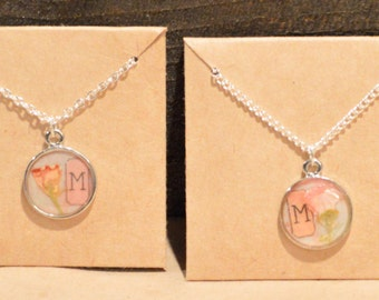 Custom Inital Dried Flower Pendent Necklace