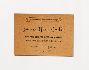 Printable DIY Save The Date / First Comes Love / Rustic Typographic Invitation