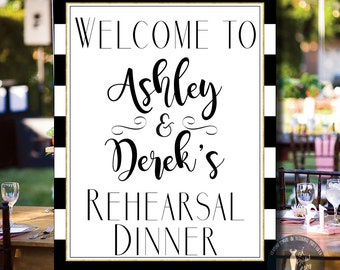 Rehearsal Dinner Wedding Sign Printable Personalized With Names - Wedding Sign - Black and Gold - Digital Download - 16x20 - 8x10 - 0002-T