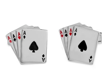 Silver an aces poker cufflinks