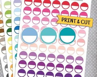 Half Circle Stickers, Printable Planner Stickers, Erin Condren Planner Stickers, Round Stickers, Half Circle Planner Stickers