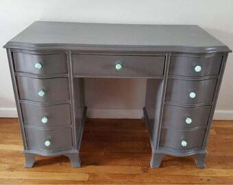Refurbished Slate Gray Desk + Glass Handles