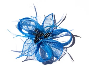 Light Blue Classic Flower Fascinator  Clip and Brooch