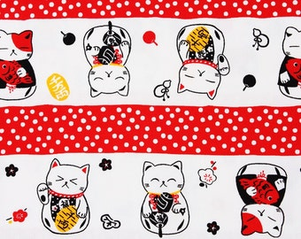 """Japanese Fortune Cat Maneki Neko Fabric made in Japan, Cats Fabric / Half Meter 50cm by 108cm or 20"""" by 43"""""""