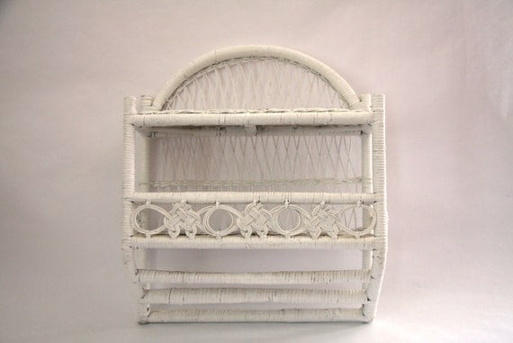 vintage white wicker towel rack shelf. Black Bedroom Furniture Sets. Home Design Ideas