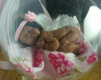 Hand Made Miniature Polymer Clay Baby Doll OOAK Artist Baby in a Bauble Christening Gift
