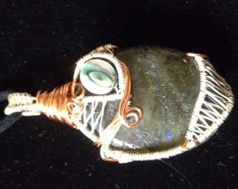 Labradorite  pendant with abalone accent