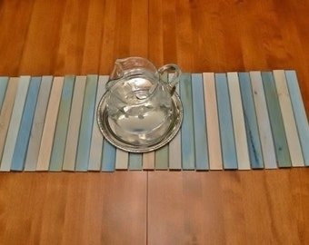 Table Runner, Wood, Beach Inspired, Cottage, Blue, Rustic, Natural Wood