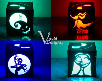 Nightmare Before Christmas inspired Color Changing LED Lantern - Jack & Sally Box