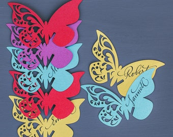 Digital paper cutting file (ai, eps, svg, dxf, cdr, studio, pdf) Butterfly table place cards, Lace Party guest cards, name cards
