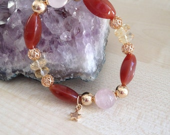 Beautiful bracelet rose Quartz, Citrine and carnelian!