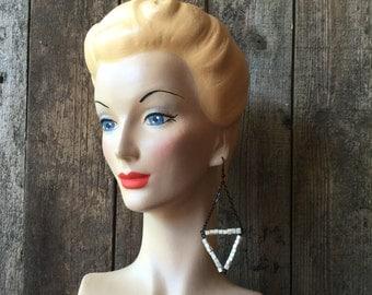 Silver & Black Triangle Bead Earrings