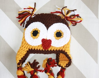 Newborn crochet owl ear flap hat