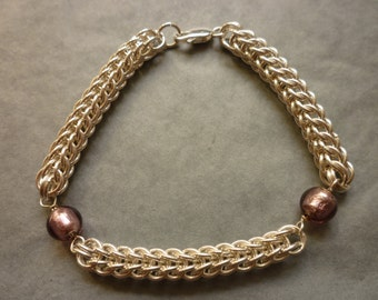 Chain maille and Murano glass bead bracelet in sterling silver