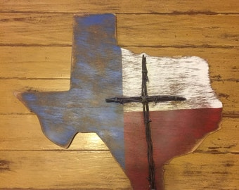 Texas Rustic Wood Plaque with Barbed Wire Cross