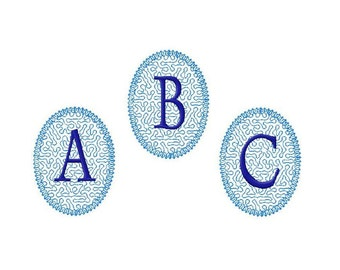 Machine embroidery monogram fonts stippling alphabet