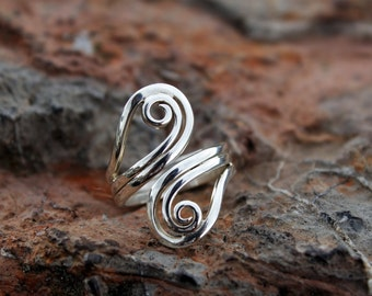 Peruvian double Spiral Silver Ring - Silver Jewelry - Sterling Silver Ring - Handmade Jewelry - Peruvian Jewelry - Handmade Ring - Peruvian