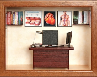 Personalized gift for cardiologist, heart surgeon. Miniature doctor's office.