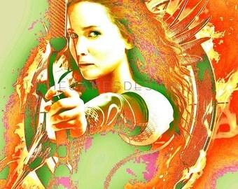 The Hunger Games Art, Katniss Everdeen Poster, Hunger Games Wall Decor Poster Print, Dorm Room Poster, Catching Fire, Mockingjay, Katniss