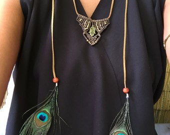 Necklace macrame and feather Peacock