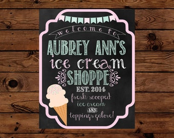 Ice Cream Shoppe Party Sign