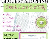 Grocery Shopping List & Cost with Tally Marks